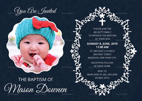 Christening Baptism Invitation Template (With images