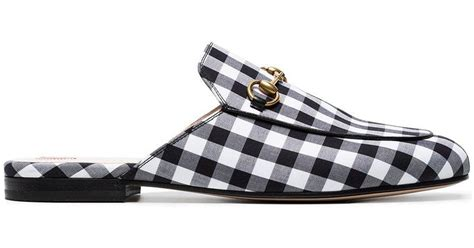 02b0ebac045 Lyst Gucci Gingham Backless Loafer In Black