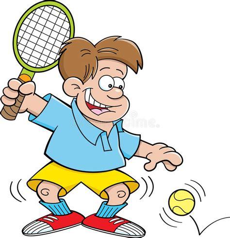 cartoon boy playing tennis stock vector illustration  recreation