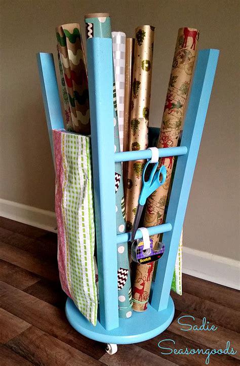 hometalk upcycled kitchen stool gift wrap caddy