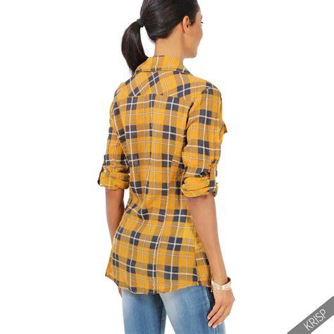 kariertes hemd kombinieren damen damen kariertes hemd langarm karohemd holzf 228 ller shirt freizeitbluse karo ebay