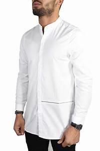 Chemise Sans Col Homme : chemise homme blanche ilann five ~ Louise-bijoux.com Idées de Décoration