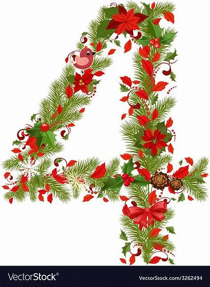 Christmas Number Tree Vector Floral Royalty Vectorstock