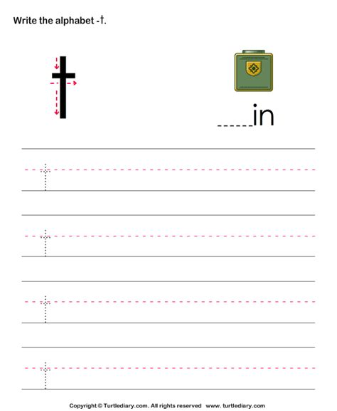 lowercase alphabet writing practice t worksheet turtle diary