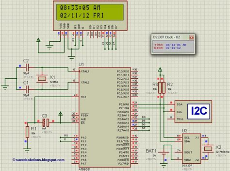 interfacing of 8051 with ds1307 rtc code proteus simulation electronicbeans