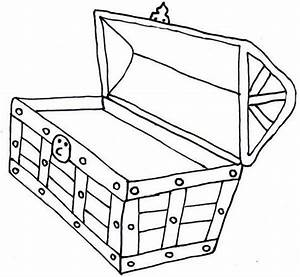 Black And White Outline Of A Treasure Chest | Free ...