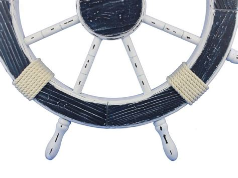 Boat Steering Wheel Home Decor by Buy Wooden Rustic Blue And White Decorative Ship