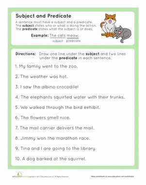 Complete Subject And Complete Predicate  Free Printables, Third Grade Reading And For Kids