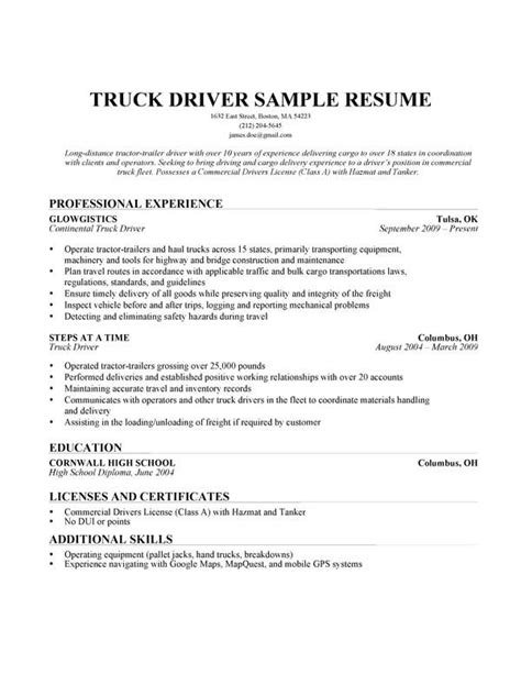 truck driving resume sle 28 images resume of drivers