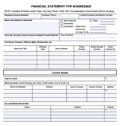 sample business financial statement forms