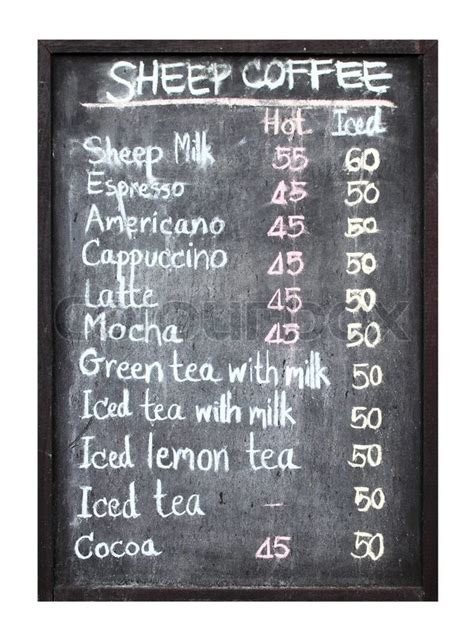 sheep coffee menu  blackboard stock photo colourbox