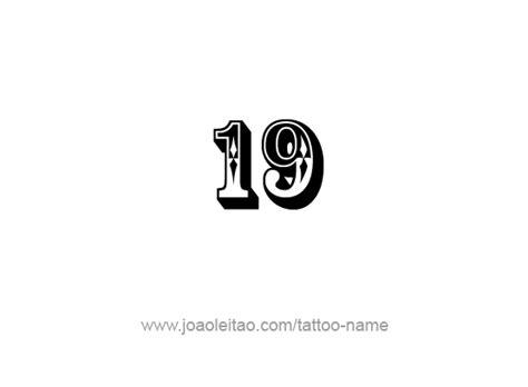 Nineteen-19 Number Tattoo Designs