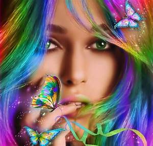 Hair, Beautiful, Butterflies, Girl, Colorful, Wallpapers, Hd, Desktop, And, Mobile, Backgrounds