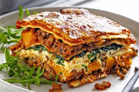 Pumpkin Risotto Recipe Easy by Pumpkin Spinach And Lentil Lasagne Recipe Taste Com Au