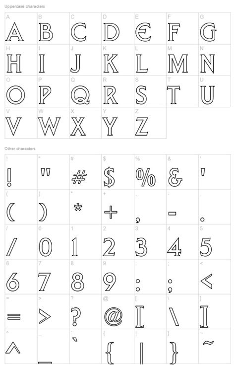 liberty hollow    capital letter outline font