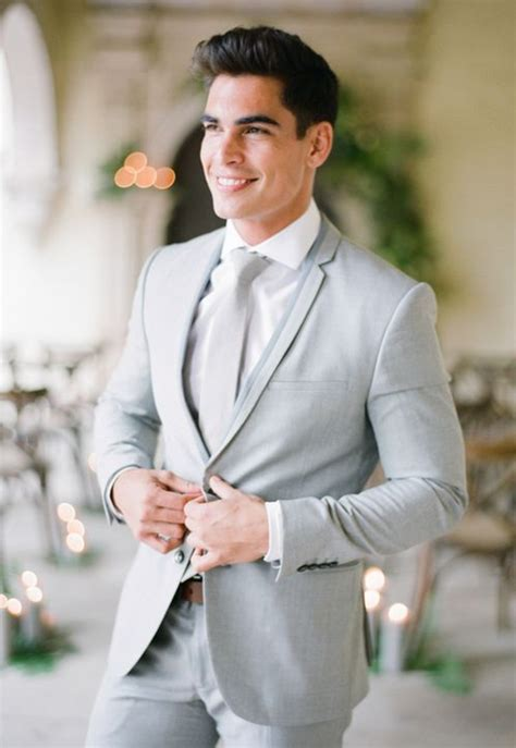 A classic light grey suit screams summer wedding Image