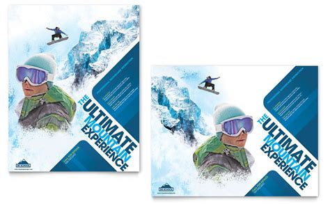 ski snowboard instructor poster template word publisher