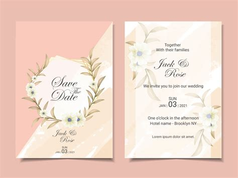 Elegant Wedding Invitation Template Cards with Beautiful