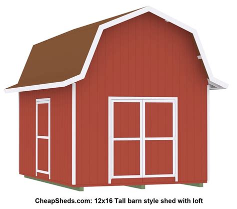 12x16 barn shed with loft gambrel barn style sheds