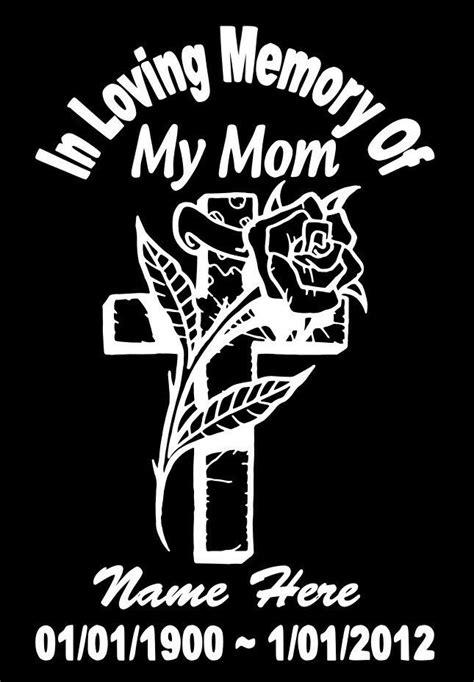 In Loving Memory Of Mom Cross Rose Decal Window Sticker
