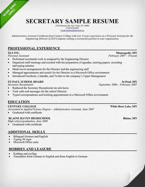 Secretarial Resume Template by Resume Sle This Sle To Use As A Template For Your Own Resume Free