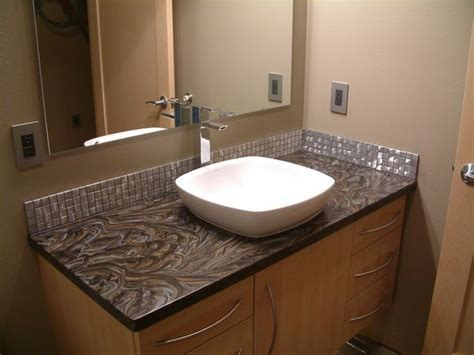 Corian® vanity fabricated by using the backside of Sorrel