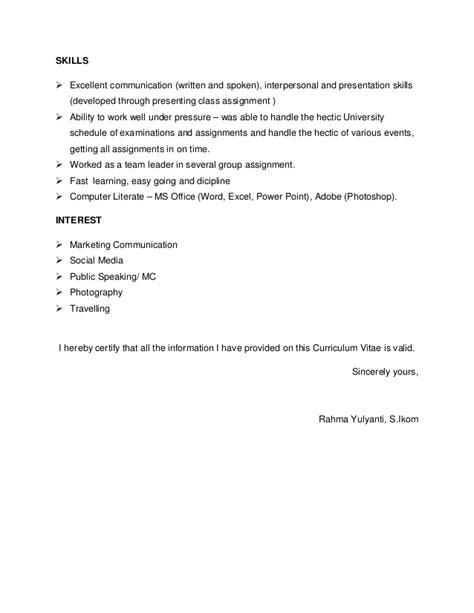 Exle Of A Written Curriculum Vitae by Curriculum Vitae New2