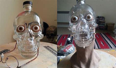 artist constructs crystal head vodka face