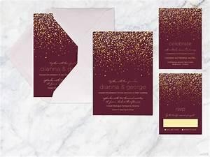 printable wedding invitation set maroon gold by With burgundy black and gold wedding invitations