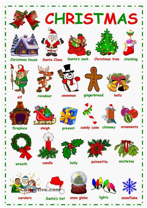 vocabulary christmas poster festival collections