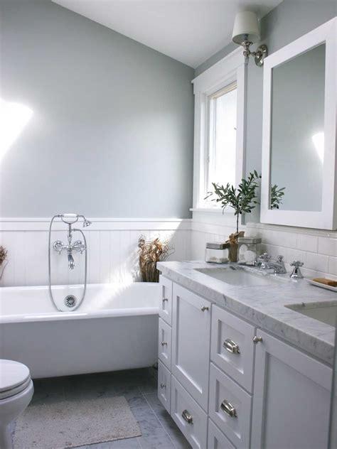 gray bathroom  white wainscoting  house