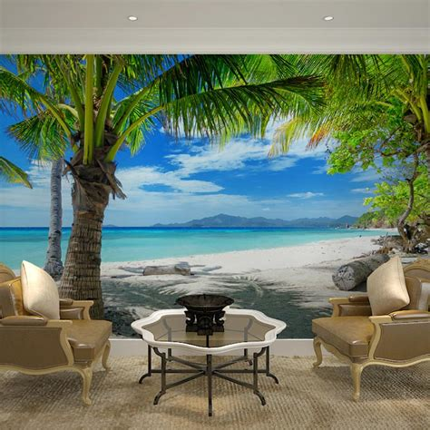 home decor wall papers  tropical beach palm tree photo