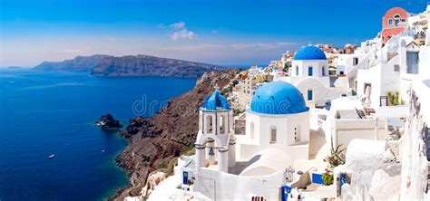 Panoramic Scenic View Of Beautiful White Houses On