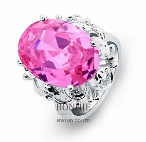 2018 fashion women round big diamond wedding rings pink With big diamond wedding rings for women