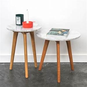 Table Plateau Marbre : table basse en marbre blanc style scandinave zuiver ~ Teatrodelosmanantiales.com Idées de Décoration