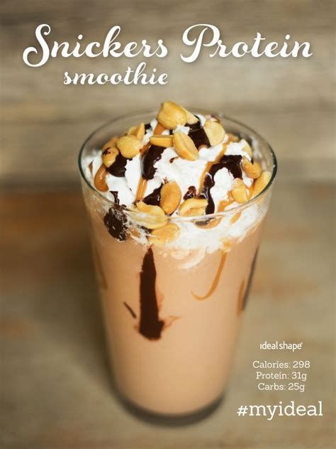 Snickers Protein Smoothie: 1/2 cup fat free cottage cheese