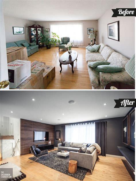 antes  despues sala sofisticada  contemporanea casa