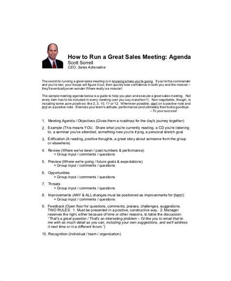 sales meeting agenda templates  sample