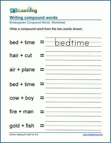 Writing Compound Words Worksheets For Preschool And Kindergarten  K5 Learning