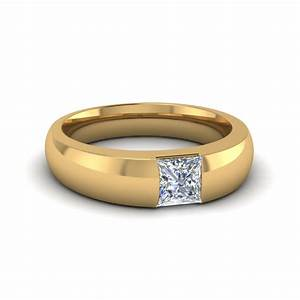 half bezel solitaire princess mens comfort fit wedding With mens wedding rings yellow gold