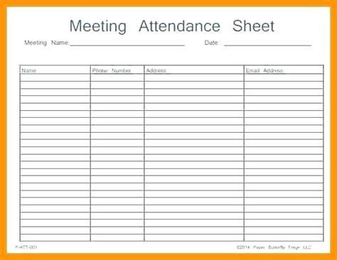 Sign In Sheet Template Word Attendance Template Excel Printable Sheet Work Meeting
