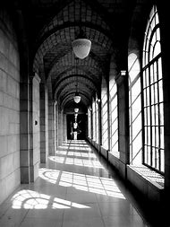 Black and White Perspective Hallway