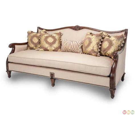 michael amini villagio hazelnut wood trim sofa with
