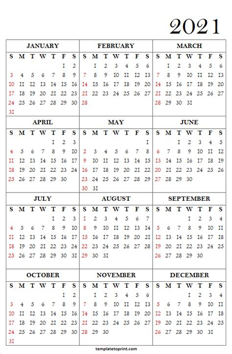 24+ Free Printable Vertical Calendar 2021  Pictures