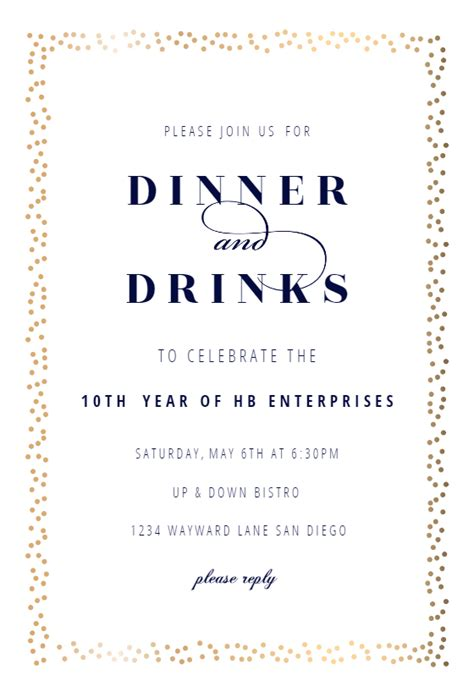 Fancy Frame Dinner Party Invitation Template (Free