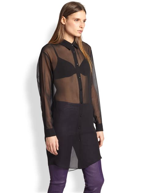 Acne Studios Reece Long Sheer Chiffon Shirt in Black