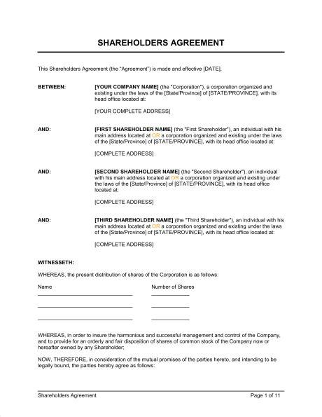 shareholders agreement template shareholders agreement template sle form biztree
