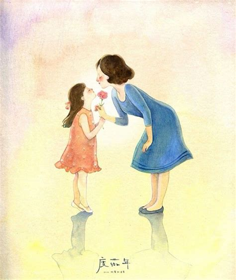 water color mother daughter