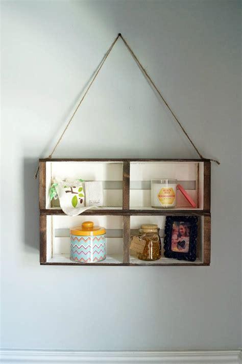 diy hanging crate wall shelf