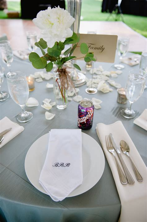 monogrammed reception table napkins elizabeth anne